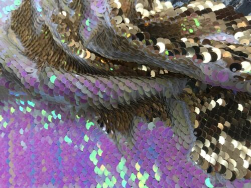 Iridescent Sequins Fabric,Shiny Reversible Mermaid Fish Scales Pink//Gold-By Yard