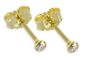 585-ECHT-GOLD-Kleine-Diamant-Brillant-Ohrstecker-2-mm