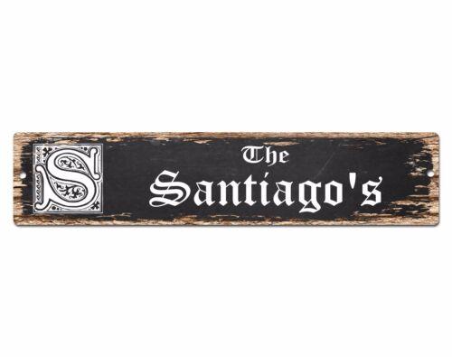SPFN0302 The SANTIAGO/'S Family Name Street Chic Sign Home Decor Gift Ideas