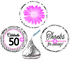 #085BPH 85th Birthday Pink Black Dot Stickers for Hersheys Kisses 216ct