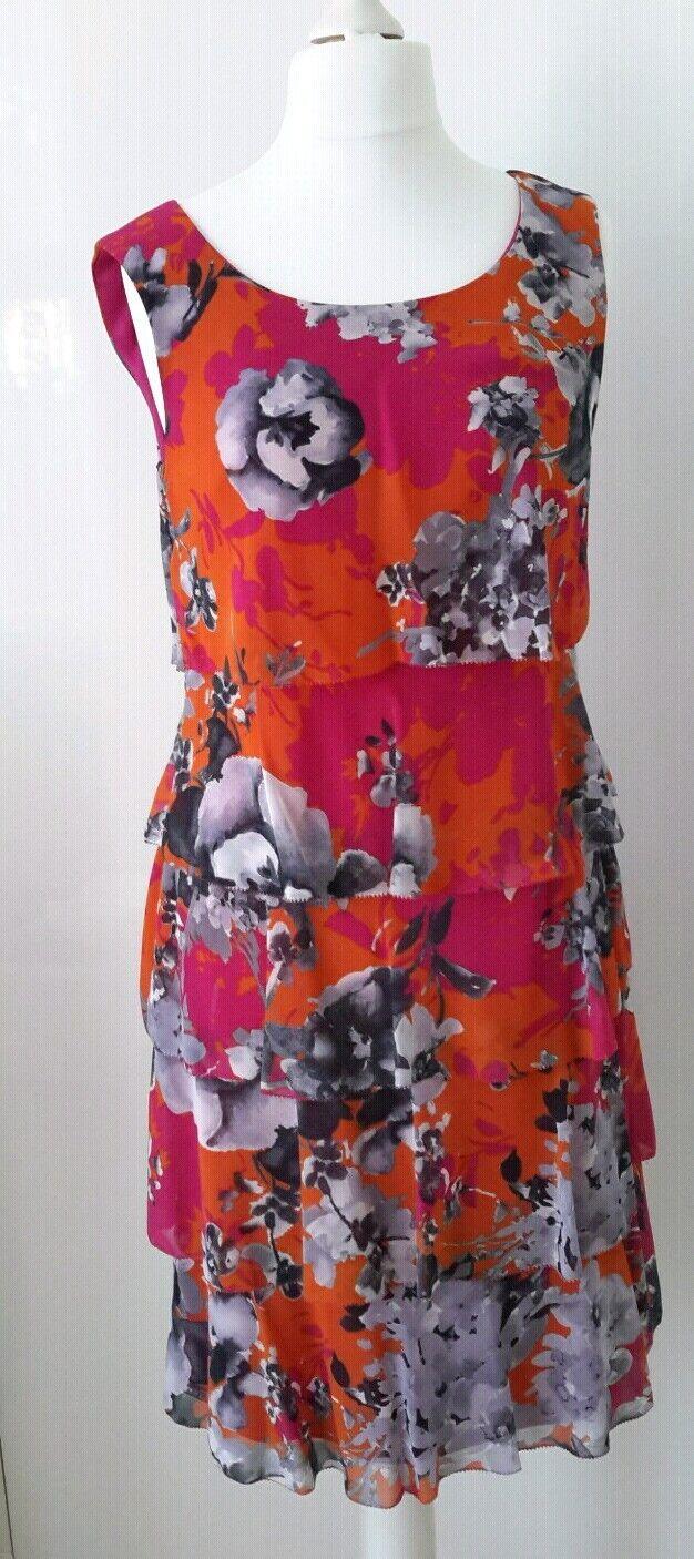 BNWT GINA BACCONI orange AND PINK  FLORAL DRESS UK12