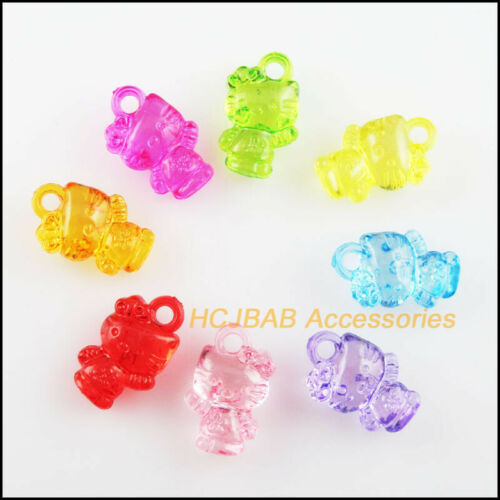 120Pcs Clear Mixed Plastic Acrylic Animal Cats Charms Pendants 10x16mm