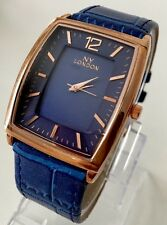 Mens Rose Gold Watch Blue Leather Strap Classic Luxury Quality Elegant Designer