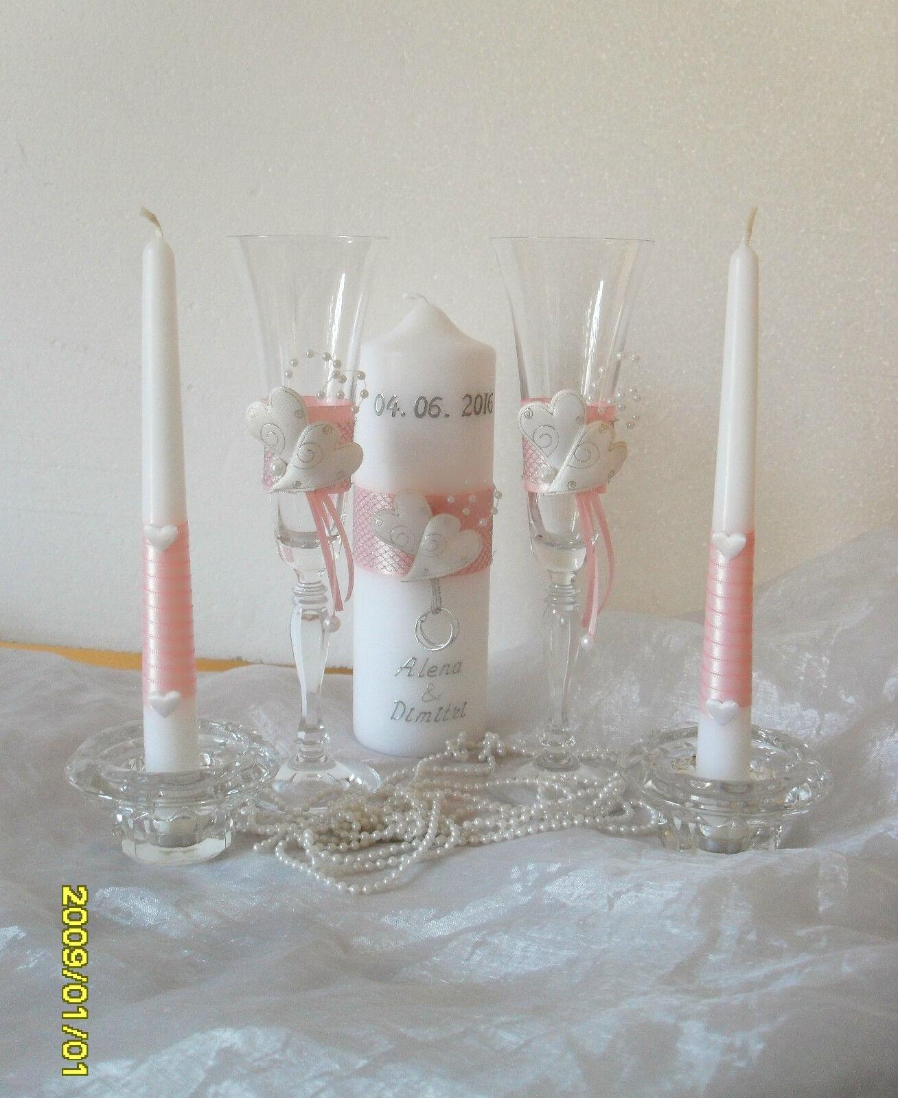 Hochzeitsgläser mit Hochzeitskerze -SET,Sektgläser,Hochzeit-3D Herzen