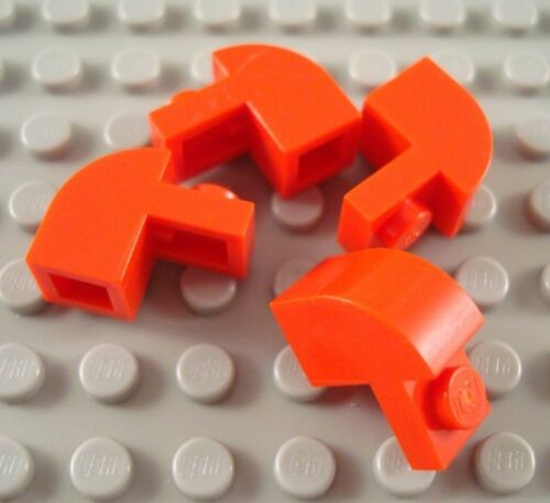 LEGO Lot of 4 Red 1x2x1 1//3 Curved Top Brick Pieces