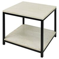 American Trail Studio End Table - White Wash Black Frame