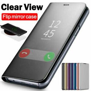 For-Samsung-A10-A20e-A40-A50-A70-Clear-360-View-Mirror-Flip-Stand-Case-Cover
