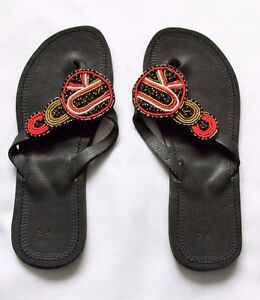 077b6e8119b6 Image is loading African-Leather-Summer-Beads-Maasai-Sandals-Made-in-