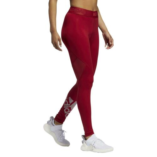 adidas ESSENTIALS WOMEN/'S ALPHASKIN LEGGINGS BURGUNDY RED GYM FITNESS YOGA WALK