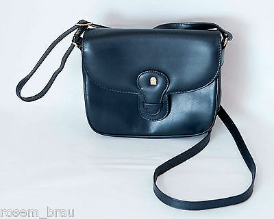 Lederhandtasche mit langem Schulterriemen dunkelblau
