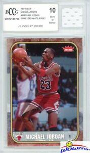 2007-Fleer-8-Michael-Jordan-Game-Used-Jersey-BECKETT-10-MINT-1986-Fleer-Design