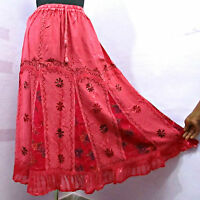 8 Hippy Embroidred Patchwork Goth Long Beach Skirt Boho Size 10 12 14 16