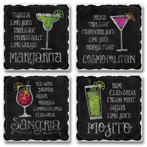 Mixed-Absorbent-Stone-Coasters-Set-4-Happy-Hour-Chalkboard-Mojito-Margarita