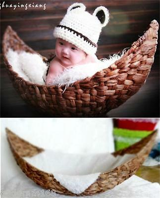 handmade Crescent basket boat basket Newborn baby photography photo props D-3