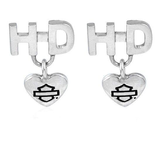 Harley Davidson Heart Post Earrings by MOD
