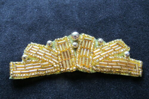 "3-1//4/"" Gold Designer Pearl Beaded Sequin Applique-BS12G"