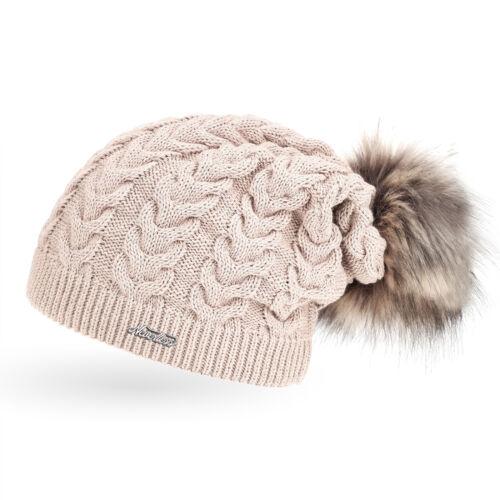 coole Damen Strickmütze Strick-Beanie gefüttert Fell-Bommel Winter-Mütze