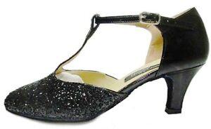 De 60 Noir Basses 01 Chaussures r Femme Bal Salle Poli Mondial Talon Strass Cqp4wtRR