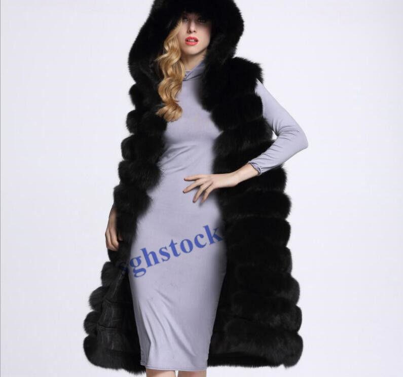 Lady Real Fur Hooded Sleeveless Waistcoat Furry Vest Gilet Long Length Coat S64