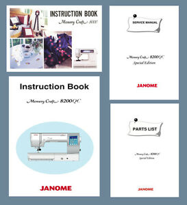 janome mc8000 mc8200qc instruction manual or service manual parts rh ebay com janome mc9000 service manual Janome 9000 Parts
