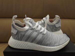 367e39ed0 Adidas NMD R2 PK Primeknit Men s Boost Fashion Sneakers White Gray ...