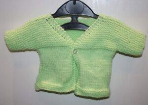 Original Tricoté à La Main 0-3 Mois Baby Cardigan Vert Printemps-afficher Le Titre D'origine