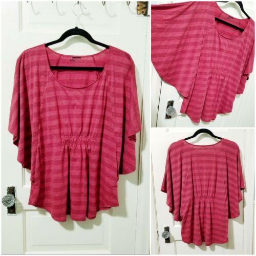 Womens SPARKLE Wine Red Kimono Blouse Shirt Top PL