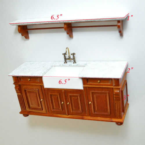 Victorian Kitchen sink counter shelf tap1:12 dollhouse miniature Antique-white G
