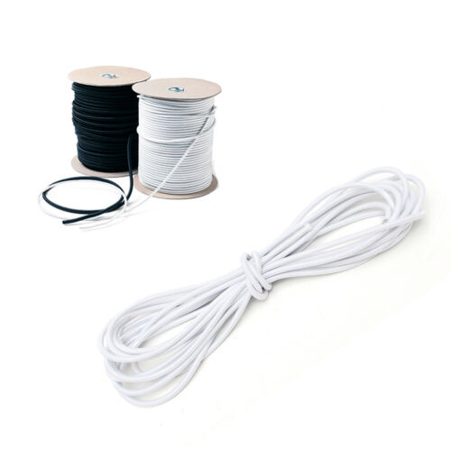 3mm x 5m High Strong Elastic Bungee Rope Shock Cord Tie Down White Black