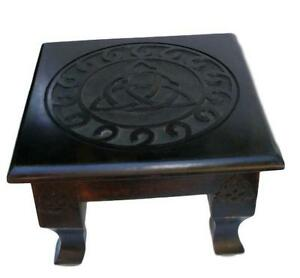 """12"""" Wooden Triquetra Altar Table, Wicca, Pagan"""