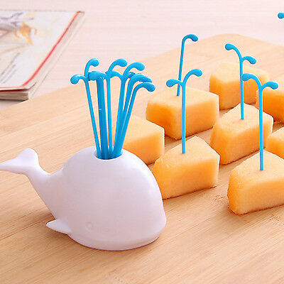 16PCS Fruit Vegetables Fork with Whale Holder Accessories Kitchen Small Gadgets