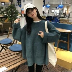Long Tops Chandails S181 Pull D'hiver Femmes Tricot Loose Crewneck Over Mid x5wqn0XvRO