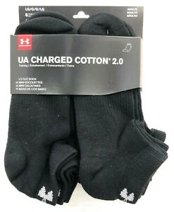 0f7feea817 Details about Under Armour Charged Cotton 2.0 LO CUT Socks 6-Pk Black U319