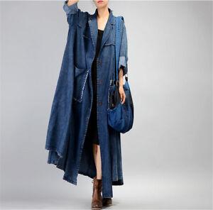 2589510b74f JQ3 Women Casual Loose Maxi Button-Down Denim Jacket Coat 100 ...