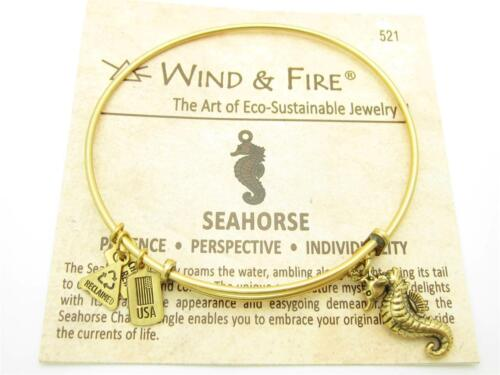 Wind /& Fire 3D Sea Horse Gold Charm Wire Bangle Stackable Bracelet USA Gift