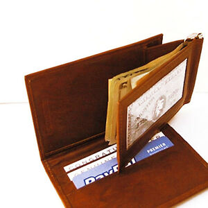 BROWN RED LEATHER MONEY CLIP BIFOLD ID CARD Detachable Men/'s Wallet New