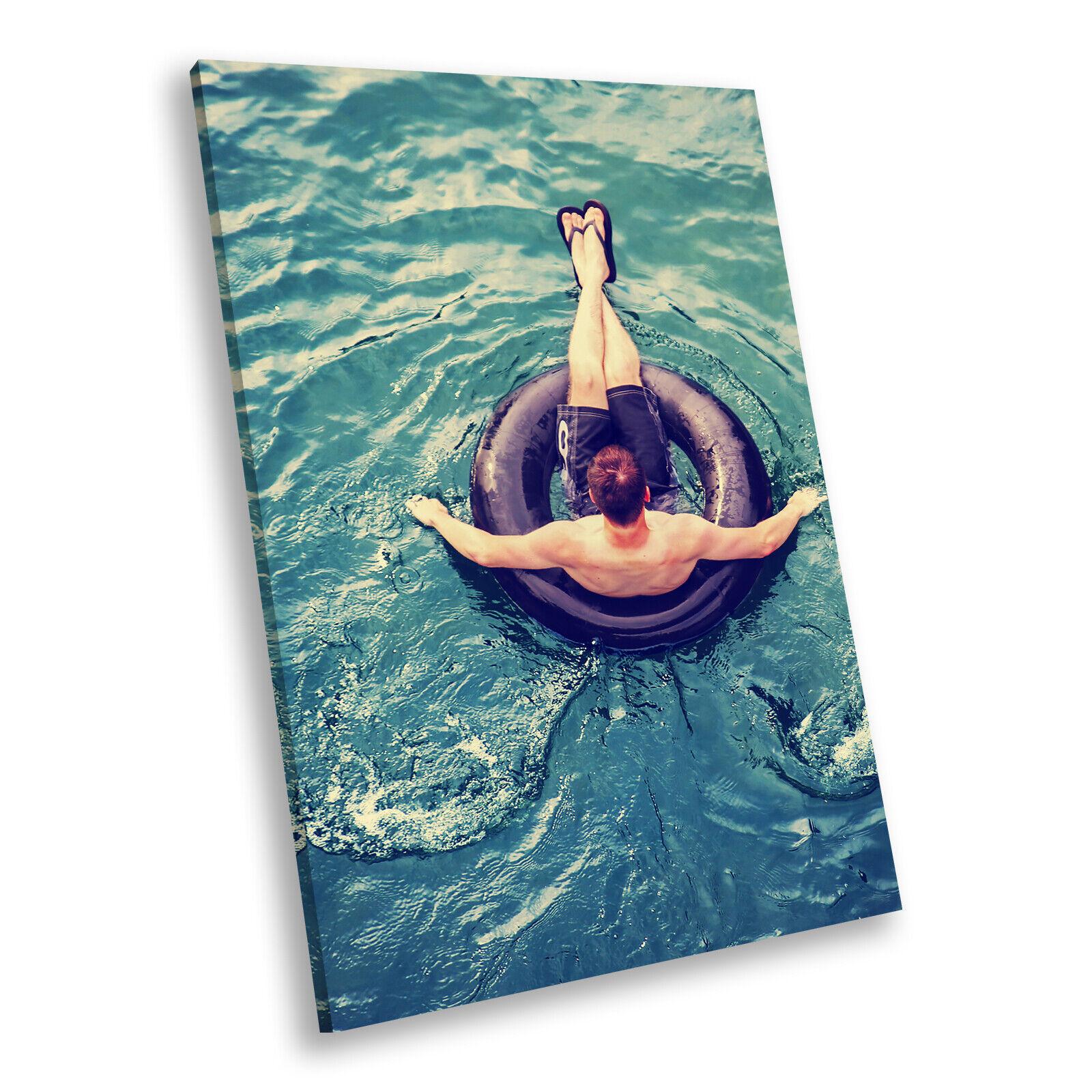 Blau Retro Ocean Relaxing Portrait Scenic Canvas Wall Art Large Picture Prints