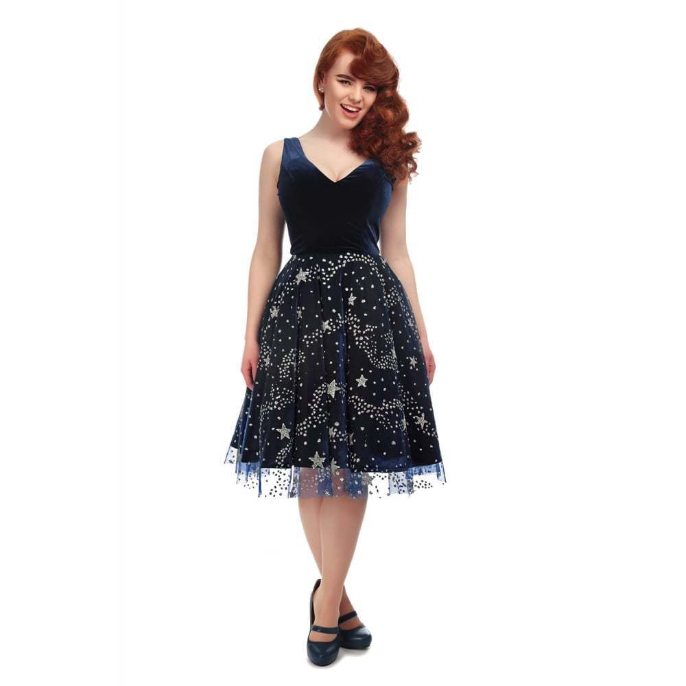 Collectif Vintage bluee Ara Stardust Swing Dress Sz 8 - 22 1950s Glamgoldus