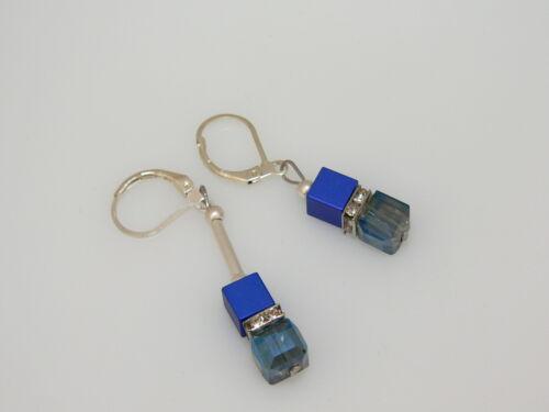 Ohrhänger Ohrringe Aluminium Alu Würfel 6mm blau matt Kristallglas klar AB 209o