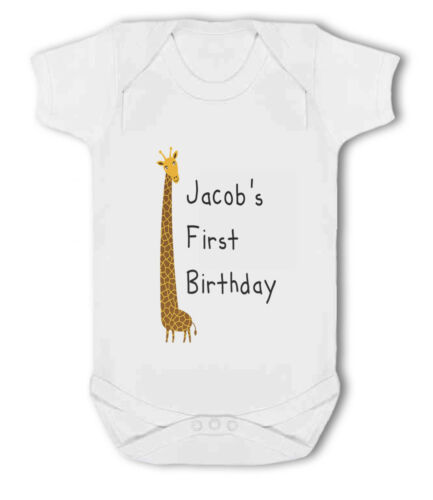Baby Vest Personalised Name 1st Birthday with Giraffe design