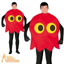 Red Pacman Arcade Ghost Video Game 80s 90s Fancy Dress Costume