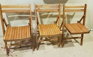 Image Is Loading Vintage Antique Wooden Folding Chairs Set Of 3