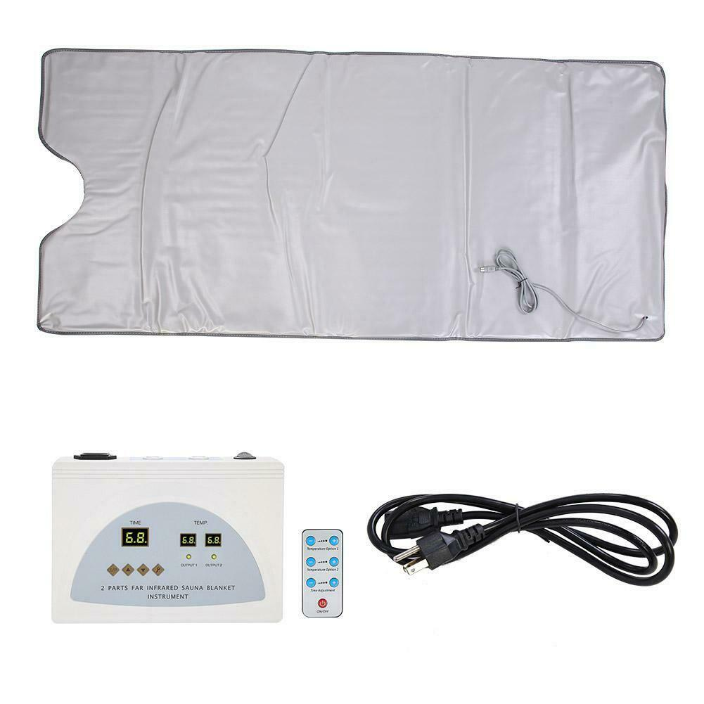 Pink-1 Sauna Blanket Anti Ageing Beauty Machine for Body Shape Slimming Weight Detox Sp 2 Zone Controller Professional Far-Infrared Heat Sauna Heating Blanket with 50pcs Plastic Sheetings