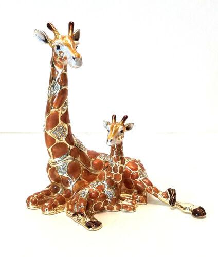 Mother /& Baby Giraffe Trinket Jewelry Box Pewter Bejeweled Treasures