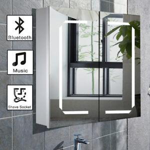 White Led Lights Bathroom Mirror Cabinet Bluetooth Shaver Socket