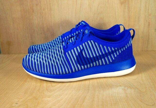 buy online 45cfc 66895 New Nike Roshe Two Flyknit Running Shoes Blue 844833-401 Men's Size 12