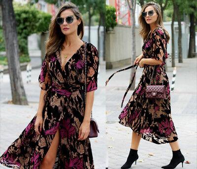 Zara Devore Abito di Velluto Tunica Fiori Velvet Vestito Floreale Stampato S M L   eBay
