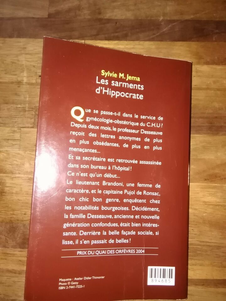 Les sarments d'Hippocrate, Sylvie M. Jema, genre: krimi og