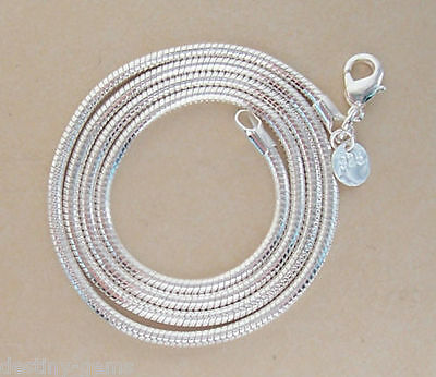 """3mm Thick 925 Sterling Silver Plated Snake Chain / Necklace 16"""" 18"""" 20"""" 22"""" 24"""""""