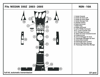 Dash Trim Kit for 350Z with automatic transmission 03-05 Dashboard NSN-10A
